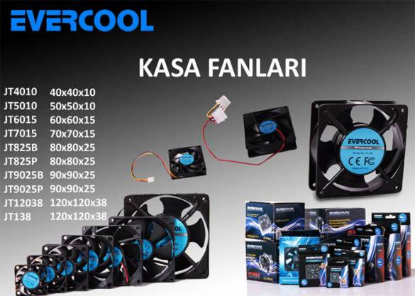 Evercool JT6015 60*60*15mm Kutulu Kasa Fanı - 0