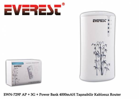 Everest EWN-729P AP + 3G + Power Bank 4000mAH Taşınabilir Kablosuz Router - 1