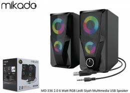 Mikado MD-336 2.0 6 Watt RGB Ledli Siyah Multimedia USB Speaker